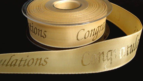 "R2447 26mm Honey Cream Ribbon with a Metallic Print ""Congratulations"" - Ribbonmoon"