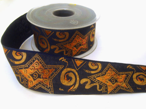 R2476 40mm Navy Ribbon with a Bronze and Copper Metallic Print