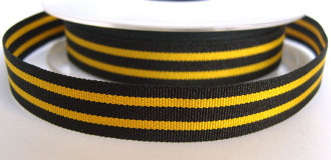 R2504 15mm Black and Gold Yellow Striped Grosgrain Ribbon by Berisfords - Ribbonmoon