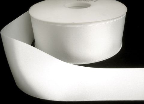 R6022 35mm White Double Faced Satin Ribbon by Berisfords - Ribbonmoon