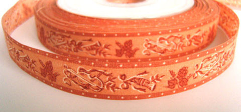 R2555C 18mm Apricot Musical Instrument and Grape Design Cotton Ribbon - Ribbonmoon