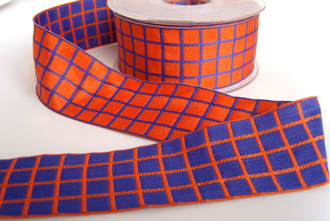 R2586 40mm Orange and Blue Purple Reversible Thick Check Ribbon - Ribbonmoon