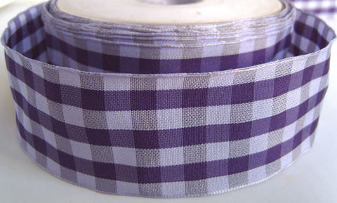 R2597 40mm Lilacs and Purples Gingham Check Ribbon - Ribbonmoon