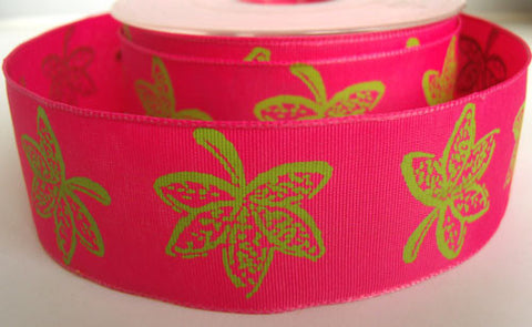 R2710 38mm Shocking Pink Ribbon with a Lime Green Leaf Design - Ribbonmoon