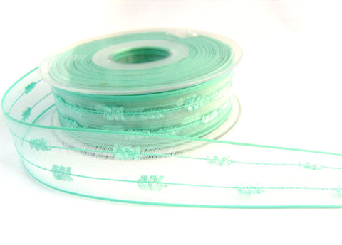 R2729 26mm New Turquoise Feather Sheer Ribbon by Berisfords