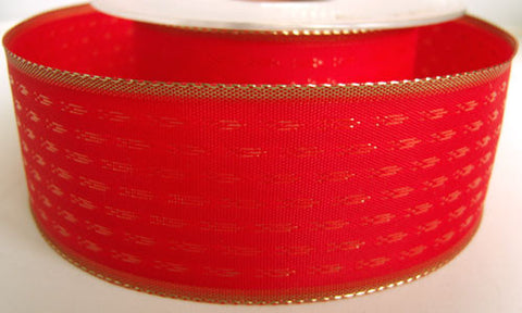 R2739 40mm Red Ribbon with Metallic Gold Woven Design and Borders - Ribbonmoon