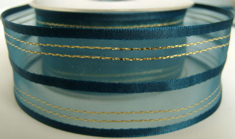 R2759 42mm Royal Navy Sheer, Satin and Thin Gold Striped Ribbon - Ribbonmoon