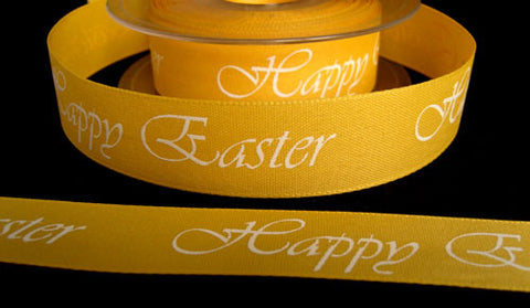 R2776 24mm Sunshine Yellow Happy Easter Ribbon - Ribbonmoon