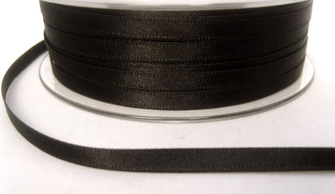 R3293 5mm Black Double Faced Satin Ribbon by Berisfords - Ribbonmoon