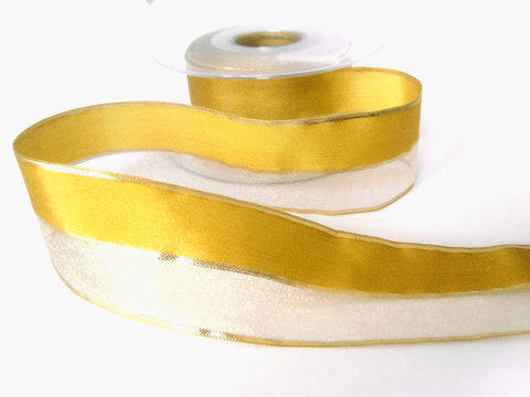 R3294 Honey Gold Sold and Sheer Ribbon with Gold Metallic Stripes