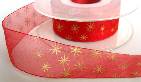 R3311 26mm Red Sheer Ribbon with a Metallic Gold Star Print - Ribbonmoon