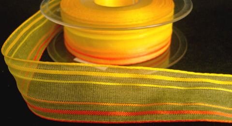 R3410 25mm Yellows and Oranges Striped Sheer Ribbon