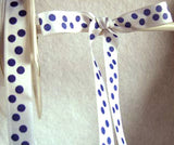R3828 13mm White Satin with a Pale Navy Polka Dot Print - Ribbonmoon