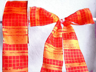 R3850 42mm Orange and Flame Red Plaid Check Ribbon - Ribbonmoon