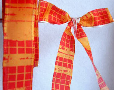 R3894 23mm Orange and Flame Red Plaid Check Ribbon - Ribbonmoon