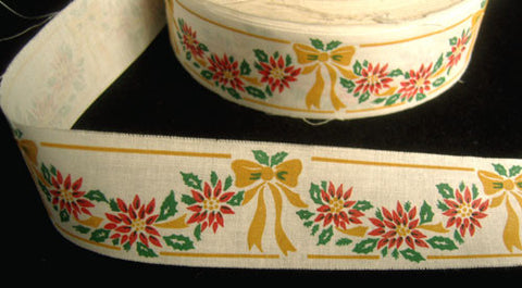 R3960C 32mm Cotton Ribbon with a Christmas Bow and Flower Design - Ribbonmoon