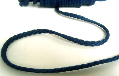 C478 6mm Navy Barley Twist Woven Polyester Cord By Berisfords