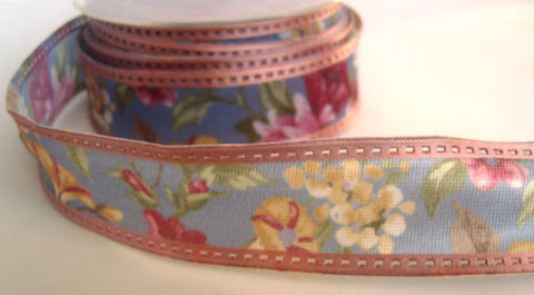 R4155 31mm Nylon Ribbon with a Flowery Design and Enforced Wire Edges - Ribbonmoon