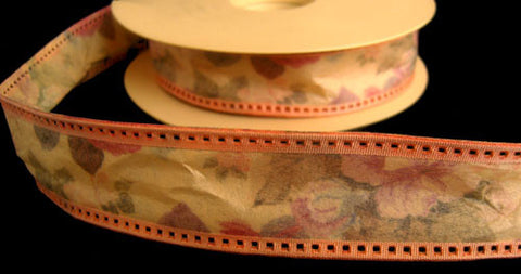 R4197 31mm Peach Based Tough Stitchable Paper Based Fabric Ribbon - Ribbonmoon