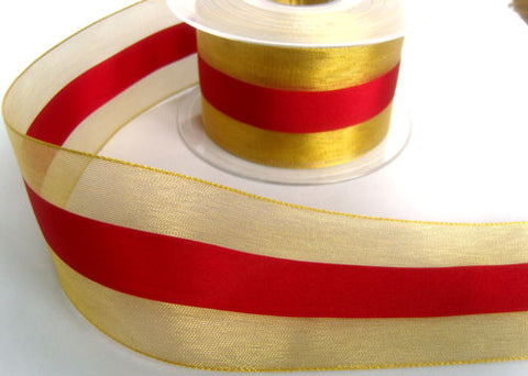 R4230 50mm Gold Sheer Ribbon with a Scarlet Berry Solid Stripe - Ribbonmoon
