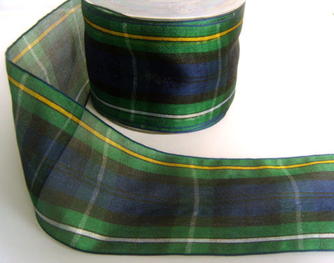 R4243 68mm Campbell Tartan Sheer Ribbon by Berisfords - Ribbonmoon