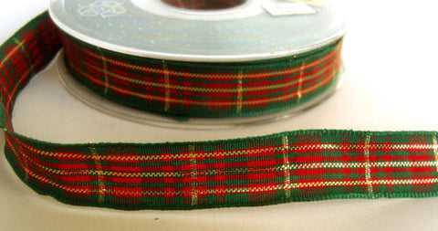 R4264 16mm Red and Green Tartan Ribbon with Thin Metallic Stripes - Ribbonmoon