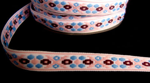 R4397 14mm White, Maroon, Blue and Pink Woven Jacquard Braid