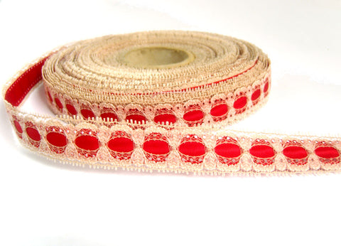 R4403 20mm Beige Eyelet Lace over a Red Acetate Grosgrain Ribbon
