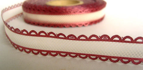 R4446 17mm White Tulle Ribbon with Raspberry Acetate Satin Borders - Ribbonmoon