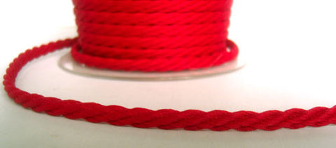 C479 5mm Red Barley Twist Woven Polyester Cord By Berisfords