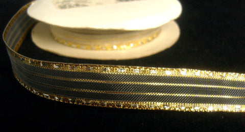 R4629 17mm Metallic Silver and Gold Decorated Stripe and Sheer Ribbon - Ribbonmoon