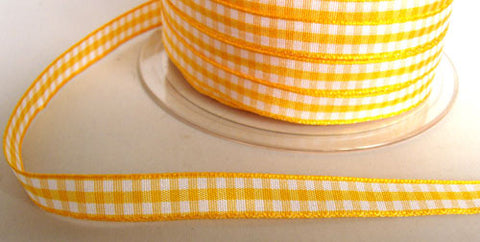 R6058 10mm Gold Yellow Polyester Gingham Ribbon by Berisfords - Ribbonmoon