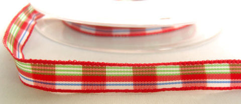 R4685 10mm Polyester Double Face Plaid Tartan Ribbon
