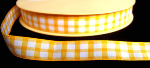 R4728 16mm Yellow and White Gingham Ribbon - Ribbonmoon