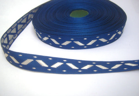 R5140 14mm Silver Grey and Dark Royal Blue Woven Jacquard Ribbon