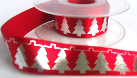 R5505 25mm Red Satin Ribbon with a Metallic Silver Christmas Print - Ribbonmoon