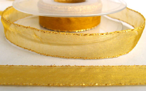 R5516 16mm Topaz Sheer Ribbon with Metallic Gold Tinsel Borders