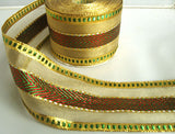 R5526 65mm Metallic Gold, Red and Green Mesh and Striped Ribbon - Ribbonmoon
