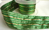 R5551 50mm Metallic Green and Gold Lurex Striped Ribbon - Ribbonmoon