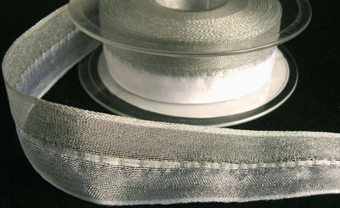 R5584 25mm White and Silver Shot Sheer Ribbon with a Gimp Stitch - Ribbonmoon