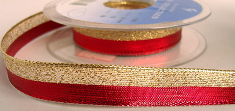 R5599 15mm Red and Gold Metallic Lurex and Mesh Ribbon by Berisfords - Ribbonmoon