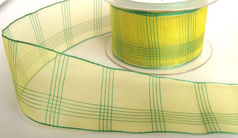 R5727 48mm Yellow and Green Sheer Check Ribbon - Ribbonmoon
