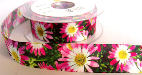 R5917 25mm Flowery Design Polyester Ribbon by Berisfords - Ribbonmoon