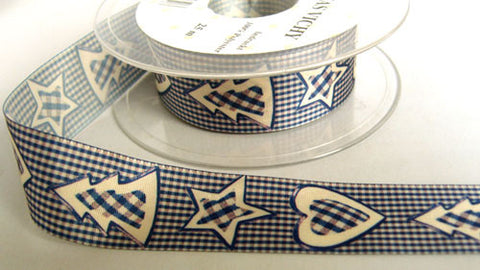 R5952 25mm Navy, Cream and Orchid Christmas Design Ribbon by Berisfords - Ribbonmoon