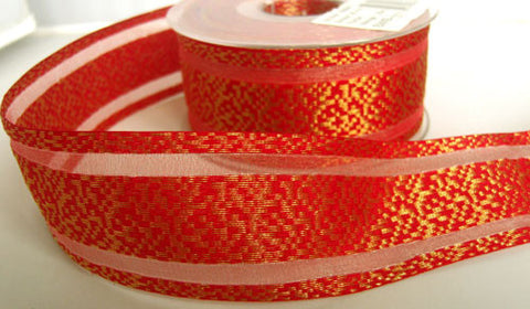 R5956 41mm Scarlet Berry and Metallic Gold Weave Ribbon,Sheer Stripes - Ribbonmoon