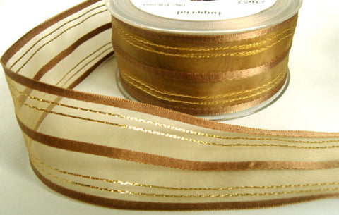 R5971 42mm Moss Sheer Ribbon with Brown Satin and Metallic Stripes