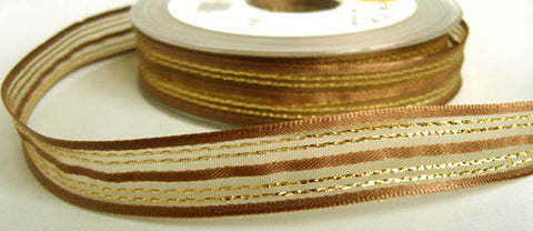 R5972 17mm Moss Sheer Ribbon with Brown Satin and Metallic Stripes - Ribbonmoon