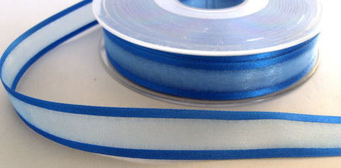 R6044 15mm Royal Blue Sheer Elegance Ribbon with Satin Borders by Berisfords - Ribbonmoon
