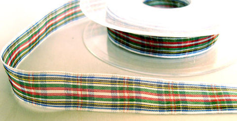 R6049 15mm Dress Stewart Tartan Sheer Ribbon by Berisfords - Ribbonmoon