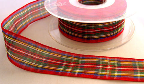 R6054 25mm Royal Stewart Tartan Sheer Ribbon by Berisfords - Ribbonmoon